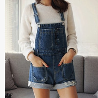 Female summer denim shorts women loose plus size short jeans jumpsuit personality ripped pocket rompers overalls S-L