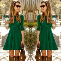 Fashion Women Long Sleeve Party Evening Cocktail Short Mini Dress Skater Pleated