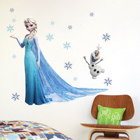 PVC Cartoon Elsa Snow Queen Wall Stickers Girls Home Decoration Wall Decals for Kids Rooms Poster Wallpaper Kids