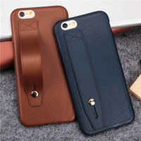 Ultra slim soft TPU phone cases Ring buckle stents for iphone 5 5S SE 6 6S 6 plus 6sPlus 7 7Plus Imitation Leather Texture cover