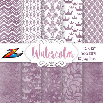 Labor Day Sale Purple Watercolor Digital Paper commercial use texture digital watercolor scrapbook background hand painted crown pattern