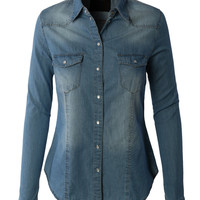LE3NO Womens Vintage Button Down Denim Shirt with Front Pockets (CLEARANCE)