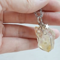 citrine wire wrapped necklace,yellow gemstone pendant,mothers day gift,ooak citrine jewelry,star necklace,crystal jewelry,healing stone