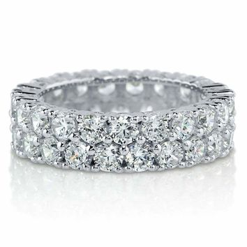 Sterling Silver .925 Women's CZ 2 Row Pave Eternity Wedding Band Ring Size 4-10