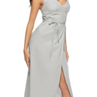 Long deep v-neck midwaist and back skirt with new summer straps