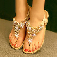 Simple fashion color matching diamond beads flat sandals