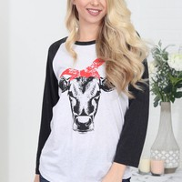 Red Ribbon Cow | Grey | Jane Marie