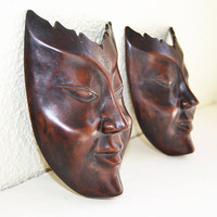 wall masks, two masks, wooden masks, wooden decoration, masks decoration, hand made, handmade masks,