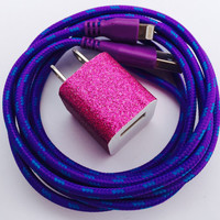 Iphone 6 / 6+ / 5 / 5s / 5c, Lightning Cable Usb Charger with Wall Adapter, iphone 5, iphone 6, braided-nylon charger cord, my charger cord