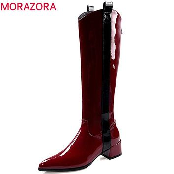 Burgundy knee high boots women patent leather autumn Knight boots pointed toe med heels punk shoes ladies