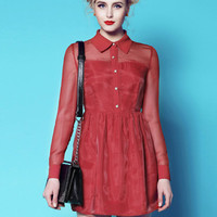 Wine Red Pointed Flat Collar Mesh Long Sleeve Pleated Mini Dress