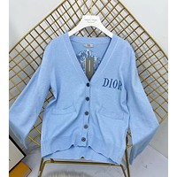 """""""Dior"""" Women Fashion Casual Knit Solid Color Flower Logo Long Sleeve Cardigan V-Neck Knitwear Sweater Coat"""