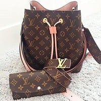 LV Louis Vuitton Sells Fashionable Women's Printed Bucket Bag Wallet Belt