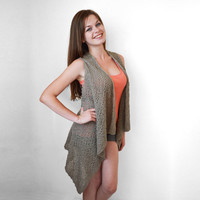 FREE SHIPPING Knitted dark beige long vest Cotton vest Spring and summer vest Lace stitch