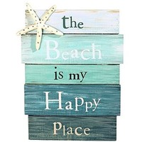 """The Beach is My Happy Place"" Aquamarine Plankboard with Starfish Decorative Sign - 12-in x 9-in:Amazon:Home & Kitchen"