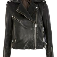 Topshop Strike Leather Biker Jacket | Nordstrom