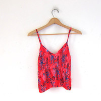 Vintage red tube top. Floral hatler belly top. Sleeveless rouched shirt