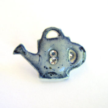 Blue Porcelain Brooch - Blue and White Watering Can Sweater Pin Glazed Ceramic
