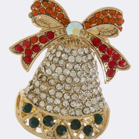 CHRISTMAS DECORATED BELL ACCENT BROOCH