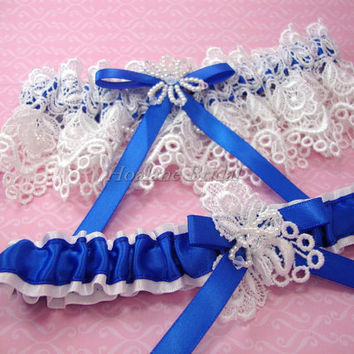 Bridal lace Garter set, Royal blue garter set, Wedding garter set
