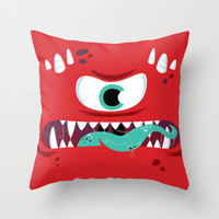 Baddest Red Monster! Throw Pillow by Marco Angeles