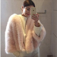 Stylish O neck Long Hairy Shaggy Faux Fox Fur Jackets Winter Woman Nine Quarter sleeve Loose Faux Fur Coat Outerwear 2 colors