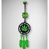 14 Gauge Green Leaf Dreamcatcher Dangle Belly Ring - Spencer's