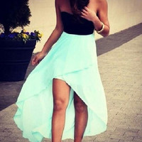 HOT STRAPLESS MINT GREEN DRESS HIGH QUALITY
