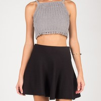 Knitted Bell Bottom Cropped Tank - Gray