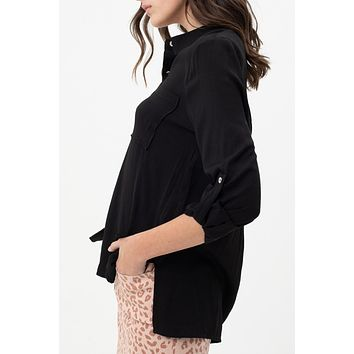 Hi Low Relaxed Button Down Shirt