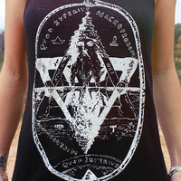 As Above So Below Sacred Geometry Tank Top // Boho Racerback Moon Child Tank Top // Urban Bohemian Top // Wicca Clothing - Witch Shirt