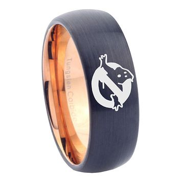 10mm Ghostbusters Dome Tungsten Carbide Rose Gold Mens Wedding Band