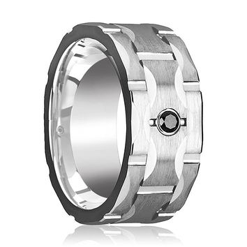 RAMA Wide Men's Tungsten Wedding Band with Grooves and Black Diamond Setting - 10MM