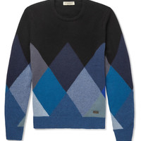 Burberry London - Patterned Cashmere Crew Neck Sweater   MR PORTER