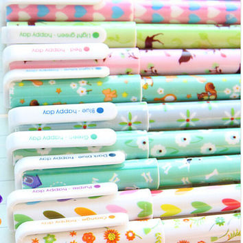 10 pen Korean Retro Floral Pen Set - Gel Ink Pen Set - Kawaii Pen Set - PEN002