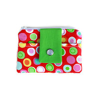 Red Coin Purse with Multi-Color Circles, Watermelon and Green Card Holder, Student ID Holder Pocket Wallet with Free Shipping