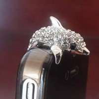 3.5mm Cute Crystal Dolphin Crocodile Dog Puppy Bear Anti Dust Antidust Earphone Plug Stopper Cap for iPhone 5 HTC (Silver Dolphin)