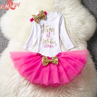 Toddler Baby Girl 1st Birthday Outfits Brand Autumn Baby Clothing Set born Infant Party Dress Girl Christening Babes Suits