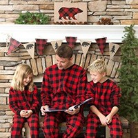 Family Matching Red Plaid Fleece Onesuit PJs Footed Pajamas