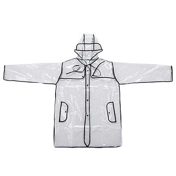 New Womens Girls Transparent Rain Coat PVC Vinyl Hooded Runway Style Clear Fashion Rain Coat Gift Macchar Cosplay Catalogue