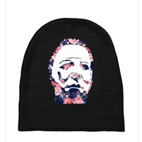 michael myers floral mask Baby Beanies