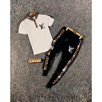 LV Louis vuitton  new style brand POLO shirt stand collar wild long section pants two-piece suit
