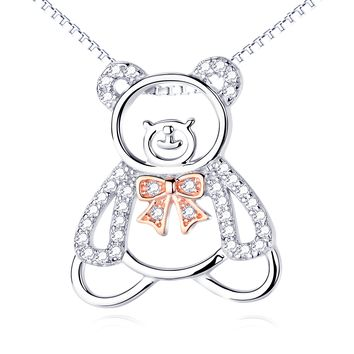 Cute Hollow Out Bear Pendant 925 Silver Necklace