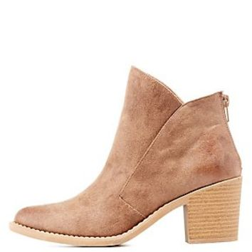 Qupid Burnished Faux Leather Ankle Booties
