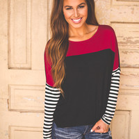 STRIPED SLEEVE TOP- BLACK/RED