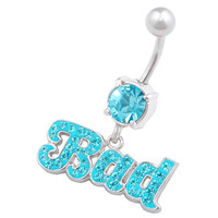 Bad Names & Words Dangle Aquamarine Crystal Belly Button Ring For Girls [Gauge: 14G - 1.6mm / Length: 10mm] 316L Surgical Steel & Crystal