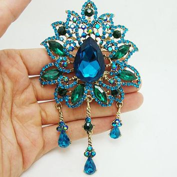 Vintage Retro Crown-shaped Pointed Flower Pendant Brooch Blue Rhinestone Crystal