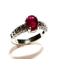 "Ruby ring, genuine ruby, ruby solitaire ring, engagement ring, anniversary ring, red,  s 7   ""Red Red"""