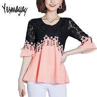 5XL Plus Size Summer Lace Office Blouses Blusas Women O-neck Flare Sleeve Girls Casual White Blouse for Female 2018 Tops Shirts