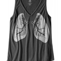 Bad House Design Women's X-Ray Lungs V-Neck Tank Top - Grey